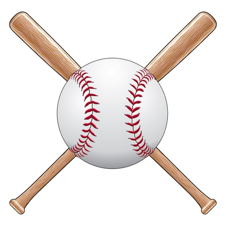 Baseball With Bats is an illustration of a baseball or softball with two crossed wooden bats. Great for t-shirt designs. Stock Illustratie