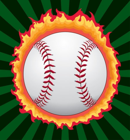 Baseball With Flames is an illustration of a baseball or softball with flames and a green sunburst background. Vector