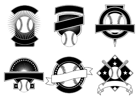 Baseball Design Templates is an illustration of six baseball design templates for use with your own text. Great for t-shirt designs.  イラスト・ベクター素材