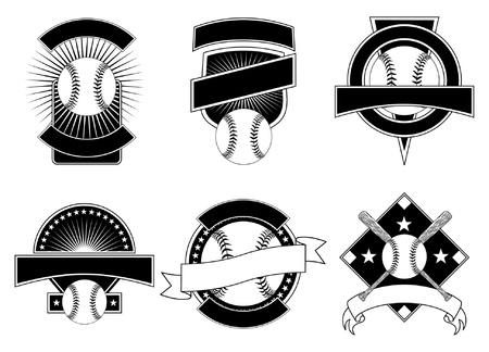 beisbol: Plantillas de dise�o de b�isbol es una ilustraci�n de seis plantillas de b�isbol de dise�o para el uso con su propio texto. Ideal para dise�os de camiseta. Vectores