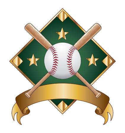 Baseball Design Template Diamond is een illustratie van een honkbal ontwerp sjabloon met diamant voor gebruik met uw eigen tekst. Groot voor t-shirt ontwerpen. Stock Illustratie