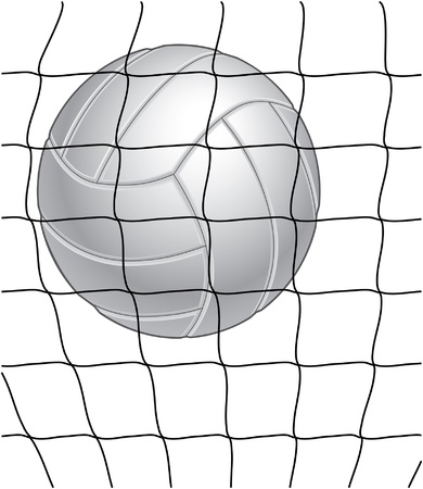 Volleyball and net illustration in black and white. Great for print or screen print.