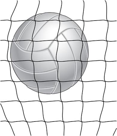 Volleybal en netto illustratie in zwart-wit. Zeer geschikt voor print of zeefdruk.