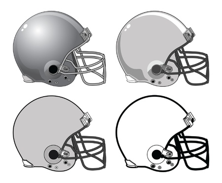 football helmet: Football Helmets is an illustration of a four football helmets used in American type football. They range from complex to a very simple black and white image.