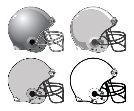 Voetbal Helmen is een illustratie van een vier voetbal helmen gebruikt in Amerikaanse type voetbal. Ze variëren van complex tot een zeer eenvoudige zwart-wit beeld.