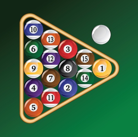 8 ball pool: Eight Ball Racked is an illustration of a rack of pool or billiard balls.