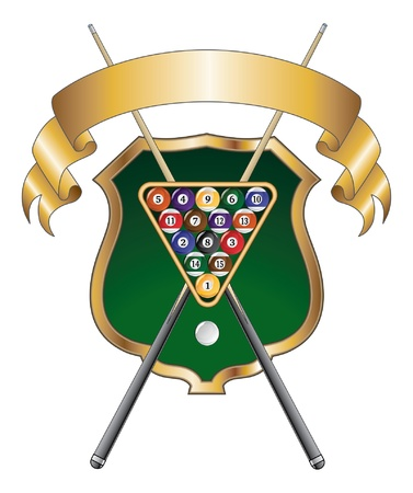 Pool or Billiards Emblem Design is an illustration of a pool or billiards design that includes a rack of pool or billiard balls, crossed sticks or cues and ribbon.