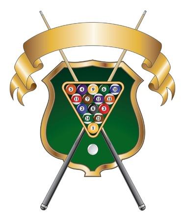 Pool of Biljard Emblem Design is een illustratie van een zwembad of biljart ontwerp dat een rek met zwembad of biljartballen bevat, gekruist stokken of signalen en lint.