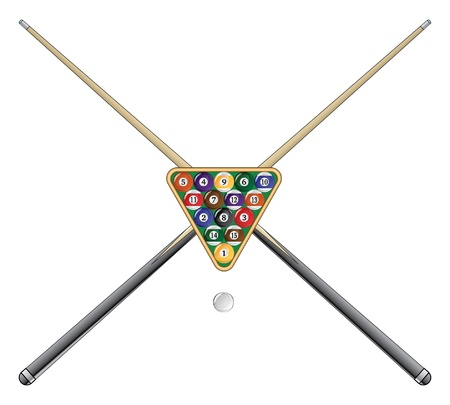 Pool or Billiards is an illustration of a rack of pool or billiard balls and crossed sticks or cues