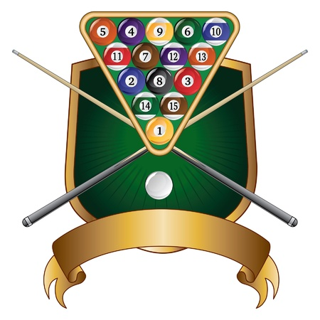 pool cue: Pool or Billiards Emblem Design is an illustration of a pool or billiards design that includes a rack of pool or billiard balls, crossed sticks or cues and shield