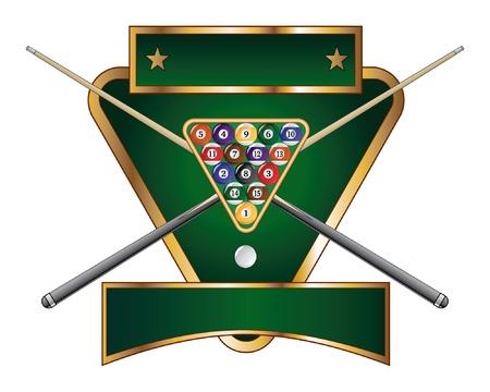 Pool of Biljard Emblem Design is een illustratie van een zwembad of biljart ontwerp dat een rek met zwembad of biljartballen en gekruiste stokken of aanwijzingen bevat
