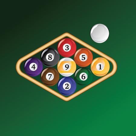 bola de billar: Atormentado Nine Ball es una ilustración de un bastidor de bolas de billar o un juego de billar bola nueve