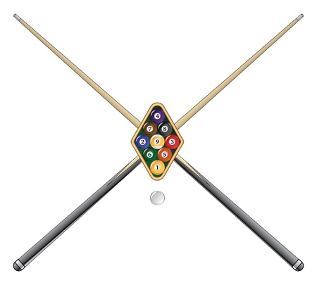pool cue: Nine Ball with Cue Sticks is an illustration of a rack of nine ball pool or billiard balls with crossed pool or cue sticks