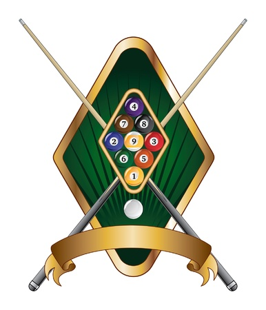 Nine Ball Emblem Design Banner is an illustration of a nine ball pool or billiards design that includes racked nine ball, crossed pool or cue sticks and banner.