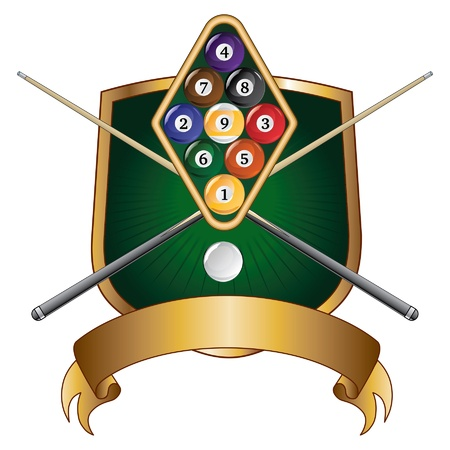 Nine Ball Emblem Design Shield is an illustration of a nine ball pool or billiards design that includes racked nine ball, crossed pool or cue sticks, banner and shield. Illustration