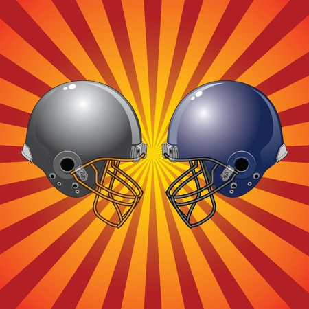 american football helmet: Football Helmets Colliding is an illustration of two football helmets facing each other as if ready to collide with a sunburst background.