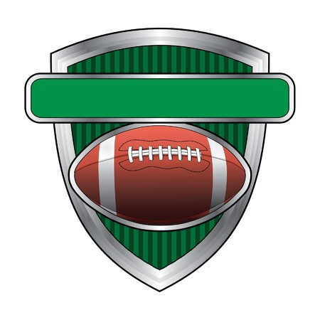Football Design Shield is an illustration of a football related design. Football floats above a shield or crest with a banner for your text. Great for t-shirts.