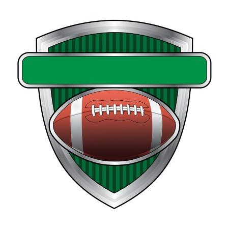 Voetbal Ontwerp Shield is een illustratie van een voetbal gerelateerde ontwerp. Voetbal zweeft boven een schild of kuif met een banner voor uw tekst. Groot voor t-shirts.
