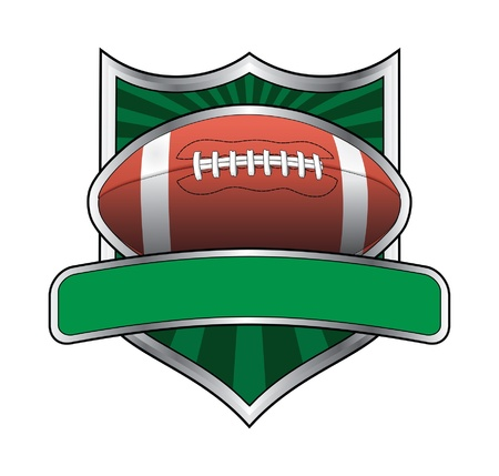 pigskin: Football Design Shield Emblem is an illustration of a football related design.
