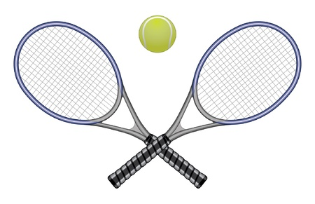 Tennis Ball & Rackets is an illustration of a tennis ball and two crossed rackets. Vector