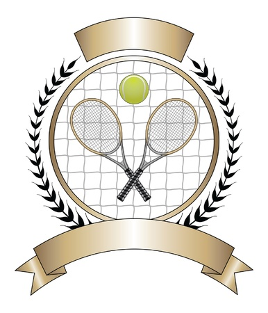 tennis net: Tennis Design Template Laurel  is an illustration of a tennis design with tennis ball and two crossed rackets. Illustration