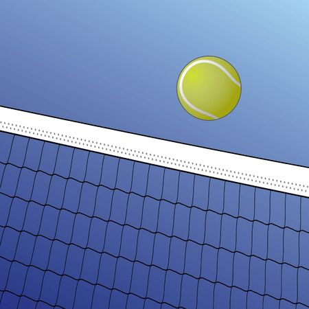 Tennis Ball Over Net is an illustration of a tennis ball flying over a net on a background of blue sky. Vectores