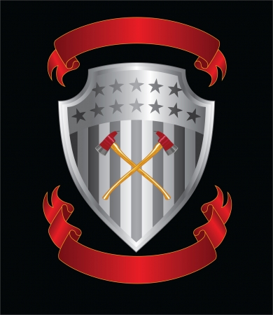 Firefighter Axes On Shield is an illustration of a silver stars and stripes shield with crossed firefighter axes and two ribbons or banners. Vector