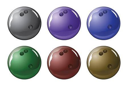 Bowling Ball is an illustration of a shiny bowling ball in six different colors. Ilustração