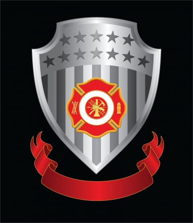 Firefighter Cross Shield is an Illustration of a fire department or firefighter's  Maltese cross symbol with firefighter logo on a silver shield with ribbon. Иллюстрация