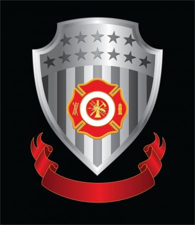 Firefighter Cross Shield is een illustratie van een brandweer of brandweerlieden Maltezer kruis symbool met brandweerman logo op een zilveren schild met lint.