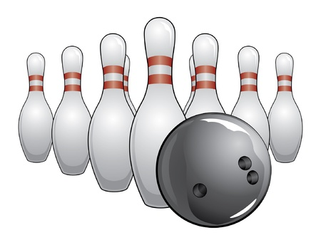Bowling Ball and Pins is an illustration of a black bowling ball and bowling pins. Ilustração