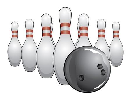 Bowling Ball and Pins is een illustratie van een zwarte bowling bal en kegels.