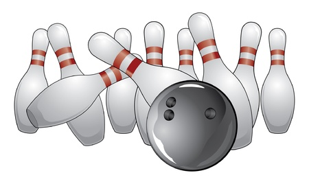 Bowling a Strike is an illustration of a strike in bowling as the ball hits the pins. Vector