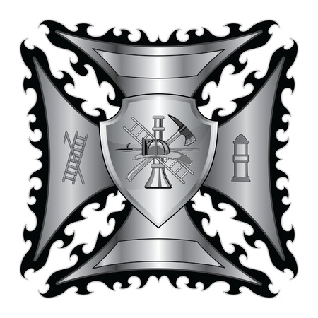 Firefighter Cross Silver With Shield is an illustration of a fire department or firefighter's  Maltese cross symbol in silver with shield and firefighter logo. Vector