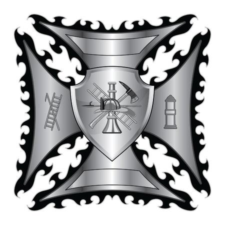 Firefighter Kruis zilver met Shield is een illustratie van een brandweer of brandweerlieden Maltezer kruis symbool in zilver met schild en brandweerman logo.