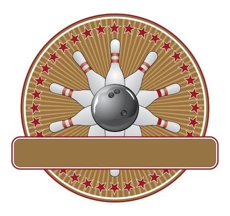 볼링 디자인 서식 검은 굴복 공 및 열 핀 볼링 디자인의 그림입니다. 일러스트