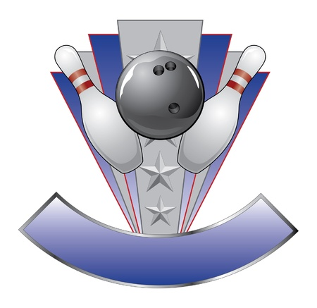 Bowling Design Template Award is an illustration of a bowling design for awards or championships with banner for your text. Vector