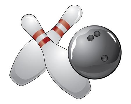 Bowling Bal met twee pennen is een illustratie van een zwarte bowlingbal en twee kegels. Stock Illustratie