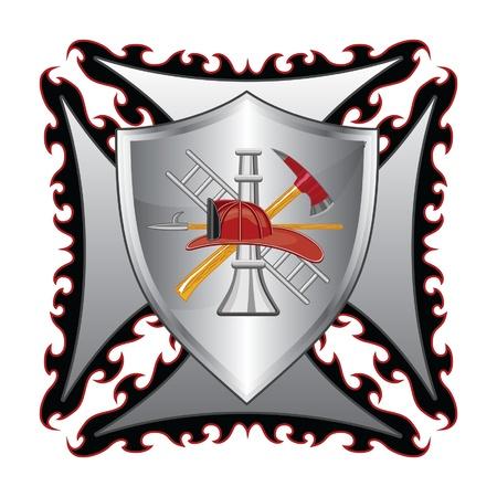 Firefighter Cross Met Schild is een illustratie van een brandweer of brandweerlieden Maltezer kruis symbool met schild en brandweerman logo. Stock Illustratie