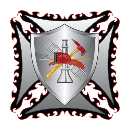 fire shield: Firefighter Cross With Shield is an illustration of a fire department or firefighter's  Maltese cross symbol with shield and firefighter logo.