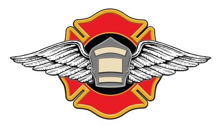 memorial cross: Bombero Memorial ilustración Diseño de una insignia o escudo de bomberos con las alas en un cruce bomberos con el espacio para el texto. Vectores