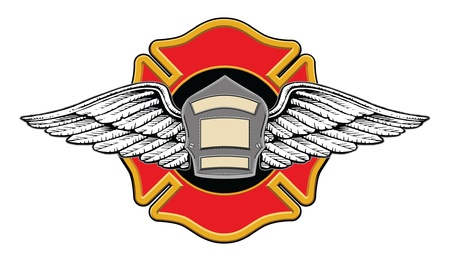 Firefighter Memorial Design illustratie van een brandweerlieden badge of schild met vleugels op een brandweerlieden kruisen met ruimte voor uw tekst. Stock Illustratie