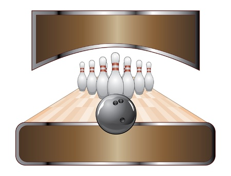 Bowling Design Template Banner is an illustration of a bowling design with black bowling ball, ten pins, lane and two banners for your text.