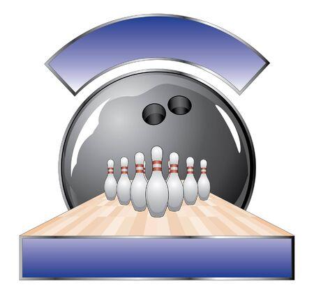 デザイン テンプレート レーンのボウリング ボウリング デザイン黒のボーリング ボール、10 ピン、レーン、テキストの 2 つのバナーのイラストです