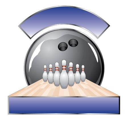 lane: Bowling Design Template Lane is an illustration of a bowling design with black bowling ball, ten pins, lane and two banners for your text.