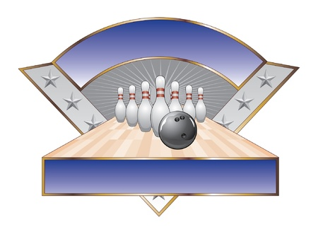 Bowling Design Template Triangle is an illustration of a bowling design with black bowling ball, pins, lane, stars and two banners for your text