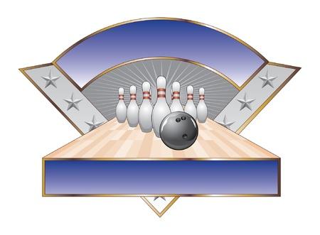 Bowling Design Template Driehoek is een illustratie van een bowling design met zwarte bowling bal, pennen, laan, sterren en twee banners voor uw tekst