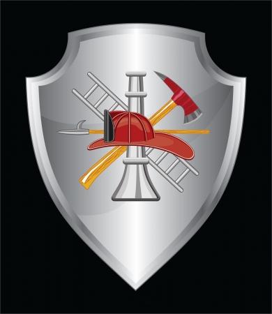 Firefighter Icoon Op Shield is een illustratie van een schild met brandweerman logo Stock Illustratie