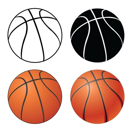 Basketball is an illustration of a Basketball in four versions ranging from a simple black and white to a complex full color  Ilustração