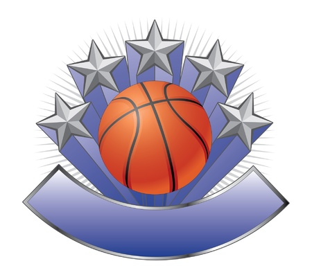 Basketball Design Emblem Award is an illustration of a basketball design including basketball, stars and a large banner for your text  Great for t-shirts  Illustration
